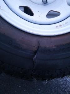 Blowout #3: Split tire damages electrical and underneath valve handles