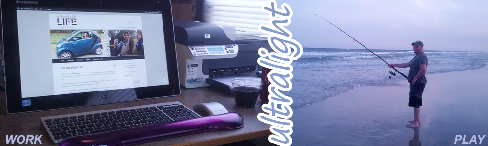 A workstation on the dinette during the day and fishing on the beach at night.