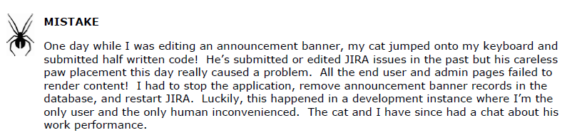 JIRA Announcement Banner Mistake